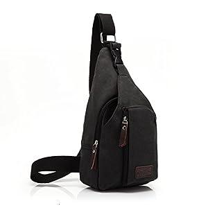 ZeleToile BS-03 Nouveau Populaire Sac / Sacoches bandoulière Toile Homme/ Sac de sport Loisirs Pour homme (noir)