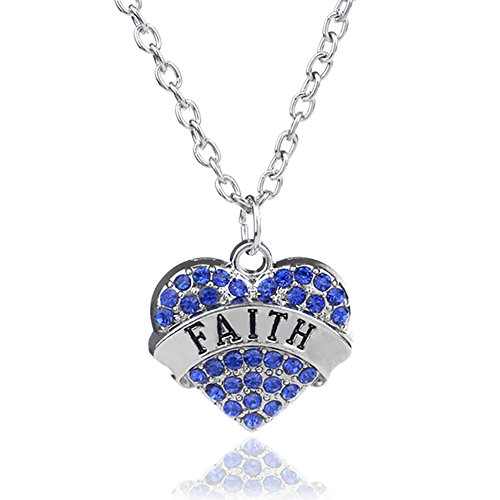 Faith Pendant Necklace in Silvertone with White Rhinestones -Charm Heart Necklace -Pop Fashion