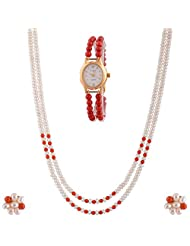Akoyaa Pearls Combo Of Pearl Necklace Set & 1 Pearl Watch - B00YU5SMEM