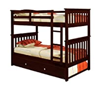 Hot Sale Bunk Bed Twin over Twin Mission style in Cappucino with Twin Trundle