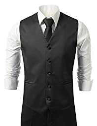 Brand Q Men\'s Tuxedo Vest, Tie & Pocket Square Set-Black-2XL