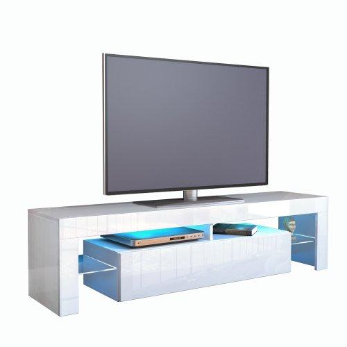 Frunty meuble tv bas armoire basse lima en blanc blanc for Armoire meuble tv