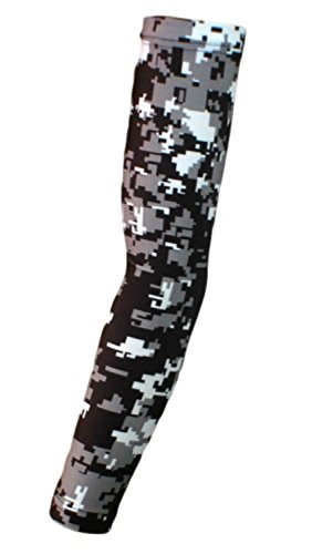 Nexxgen Sports Apparel Moisture Wicking Compression Arm Sleeve (Single) - Men, Women & Youth - 40 Colors - Digital Camo & Elite (Youth Large, Black/Gray/White)