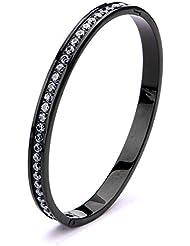 Inox Jewelry Black Stainless Steel Channel Set CZ Bangle
