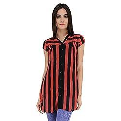 Terquois shirt with strips & inner (633_orange&Black_XXL)