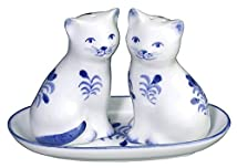 Blue and White Cats Sitting with Tray Salt and Pepper Shaker Set Andrea by Sadek