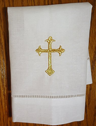 White Linen Baptism Cloth with Gold Cross