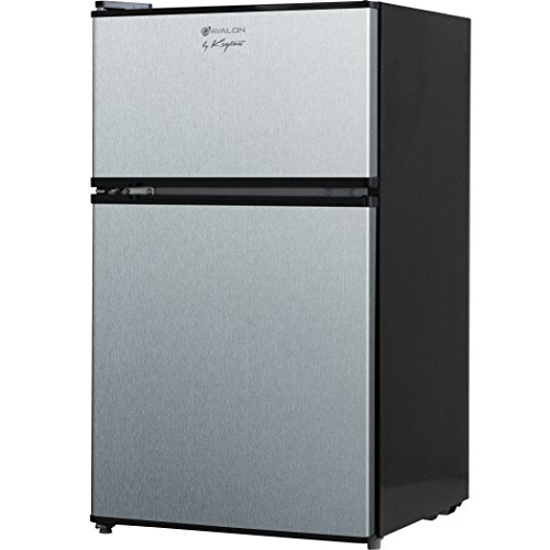 Avalon by Keyton Refrigerator & Freezer with Double Doors - 3.1 Cubic Feet, Compact, Adjustable Legs, Interior Light & Adjustable Thermostat - UL & Energy Star Certified - Stainless Steel (Refreshment Fridge compare prices)