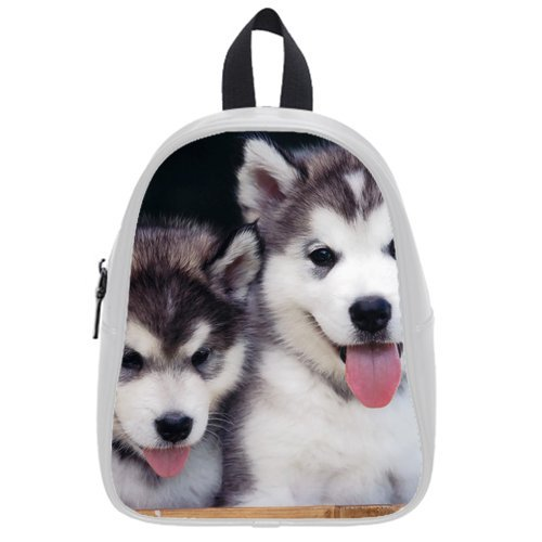 Generic Custom Small And Big Dogs Printed White School Bag Backpack Fit Short Trip Pu Leather Large front-1000206