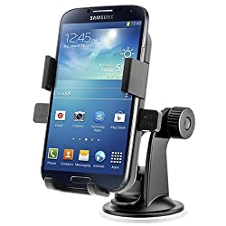 RKA Windshield One Touch Mount Stand Car Home Desk Cradle A/C Holder Suction for Mobile Phone Single