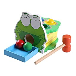 IHOME&ILIFE Training Hand-eye Coordination Wood Knock Against Whac-a-mole Box With A Hammer For Children