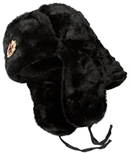 Russian Soviet Army Fur Military Cossack Ushanka Hat Gray Eagle