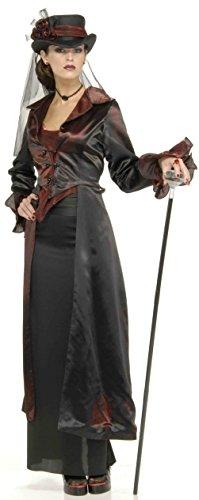 Widow Maker Costume Lady 8-10 Victorian Witch Vampiress Black Steapunk Nanny (Black Widow Witch Costume)