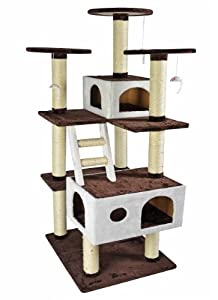 Kitty Polis Brown Multi Level Climbing Cat Tree & Lounge Pet House-Buster Collection