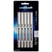 uni-ball Vision Stick Roller Ball Pens, Fine Point, Blue Ink, Pack of 5