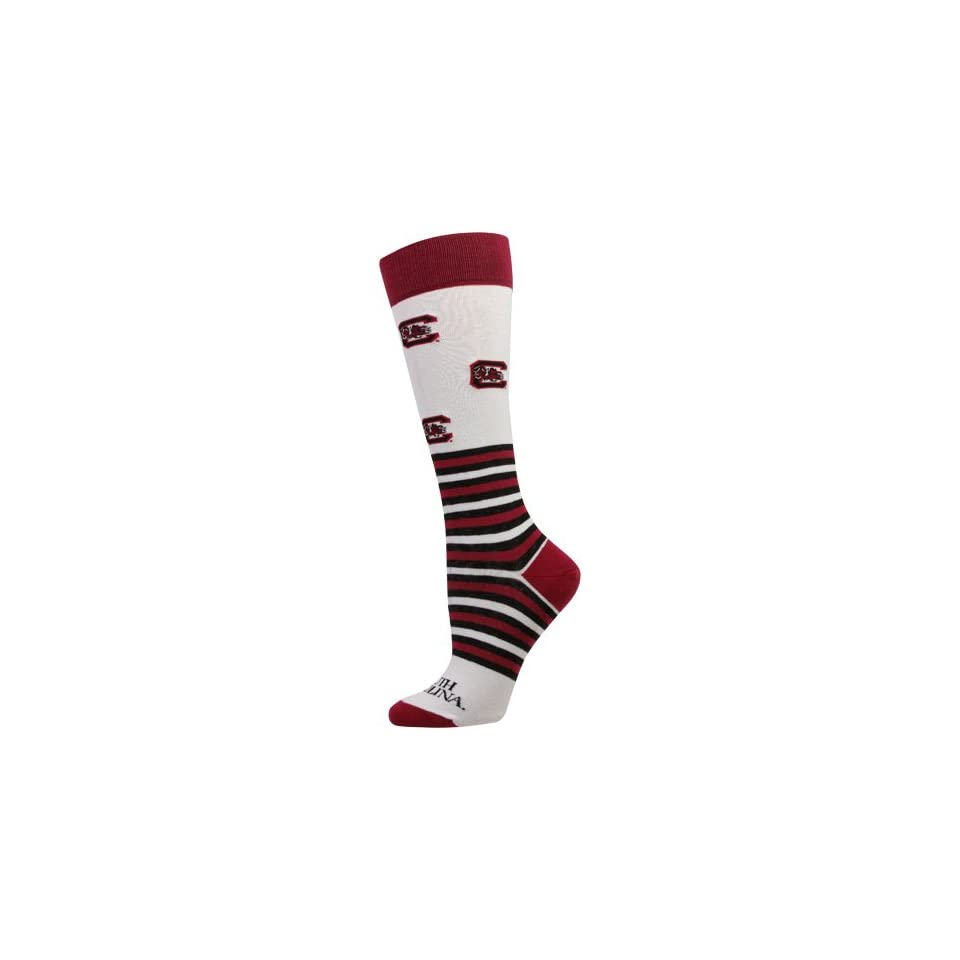 NCAA South Carolina Gamecocks Womens Striped Logo Knee Socks   White