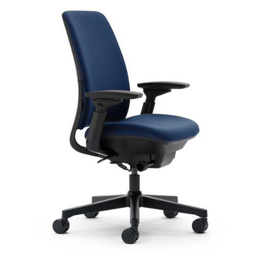 Amia Chair by Steelcase - Black Frame and Base - Navy Fabric