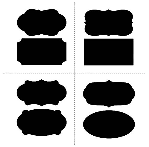Chalkboard Labels,40 Large Fancy Rectangle Chalkboard Stickers - Premium Waterproof Peel and Stick for Jars, Pantries, Craft Rooms, Buffet, Canisters, Glasses, Baskets, Cheese, Pantry