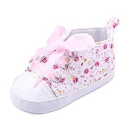 Weixinbuy Baby Girl\'s Floral Prewalker Soft Sole Ribbon Non-slip Sneaker SZ11