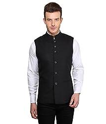 MENJESTIC Men's Slim Fit Waistcoat VB_42_Black_X-Large
