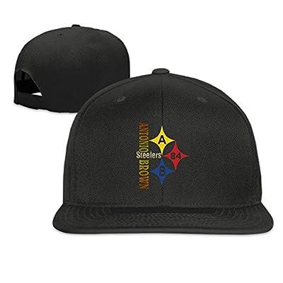 Unisex Pittsburgh Steelers #84 Player Antonio Brown Adjustable Flat Brim Hip Pop Hat Black