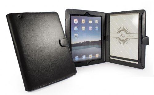 Tuff-Luv Scribe folio Stasis Faux Leather case cover for Apple iPad 2 / new ipad (Retina) 3 (Retina) - Black
