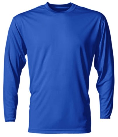 A4 Men's Cooling Performance Crew Long Sleeve T-Shirt, Royal, XX-Large