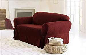 Green Living Group Chezmoi Collection Soft Micro Suede Solid Red Couch/Sofa Cover Slipcover