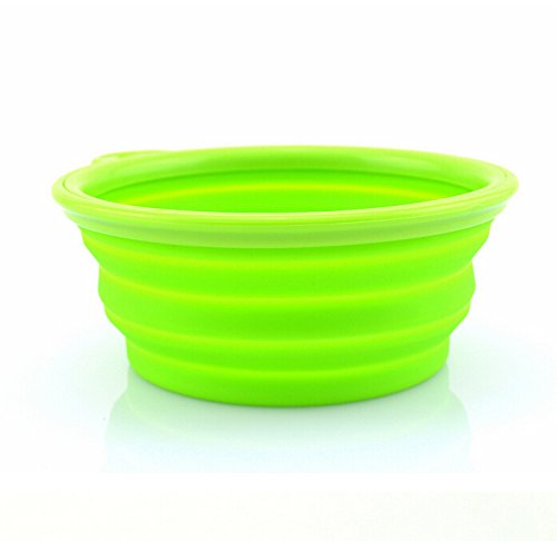 FuzzyGreen® Pop-up Silicone Pet Bowl Travel Bowl For Dogs Cats(Green)