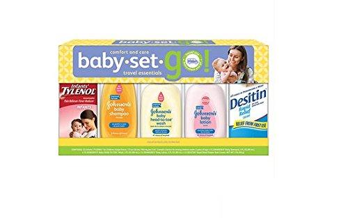 Johnson & Johnson Baby Set Go Travel Essentials Gift Set (Childrens' Tylenol, Shampoo, Wash, Lotion, Desitin) - 1
