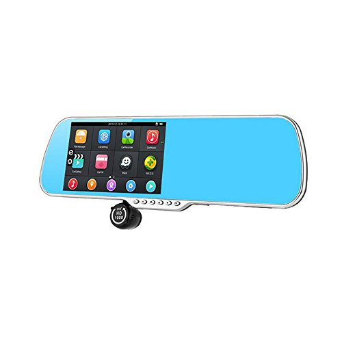 Pentop 5 Inch Android Smart Rearview Mirror Car Video Recorder Night Vision Camera + GPS Navigation + WIFI + Full HD Dual 1080P Car DVR + FM Transmitter