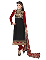 Surat Tex Black Color Wear Chanderi Cotton Un-Stitched Dress Material