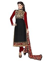 Surat Tex Black Color Wear Chanderi Cotton Un-Stitched Dress Material