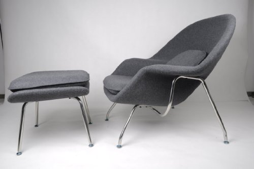 Eero Saarinen Womb Chair Sofa Couch And Ottoman Pavilion Stool Set In Dark  Gray Woolen Fabric