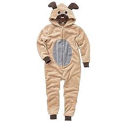 Animal Crazy Childs Boys Girls Supersoft Pug Dog Onesie Jumpsuit Playsuit