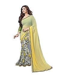Shree fashion women's Top Fabrics semi stitched yellow GEORGETTE saree