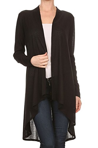 Modern Kiwi Solid Essential Long Cascading Cardigan Black Ribbed Extra Large