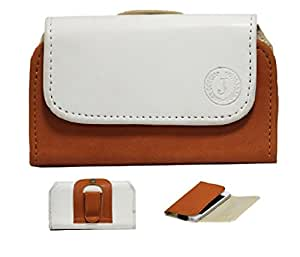 Jo Jo A4 Nillofer Belt Case Mobile Leather Carry Pouch Holder Cover Clip For Spice Smart Flo Mettle 5X White Orange