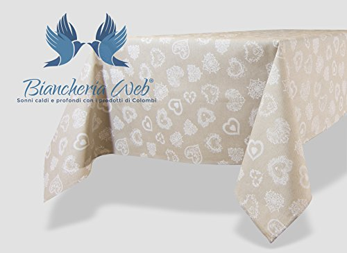 Tischdecke aus 100% Baumwolle, Größe: 90x 90cm, Typ Miros Position Herz Farbe Weiß