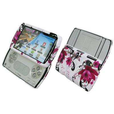 EMPIRE White with Purple Flowers Rubberized Design Hard Case Cover for Verizon Sony Ericsson Xperia Play