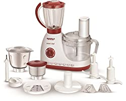 Maharaja Whiteline Smart Chef 600-Watt Food Processor (White and Red)