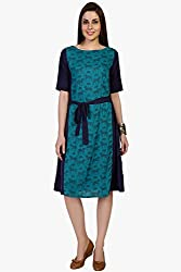 Funk For Hire Women Rayon & Crepe Horse printed Panel tie up Dress (Turquoise, Size L)
