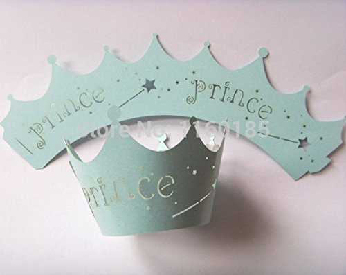 Blue Prince Laser Cut Cupcake Wrapper Muffin Cup Cake Case Liner Boys Birthday (Prince Cupcake Liners compare prices)