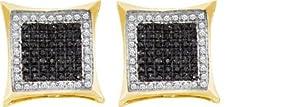 10K Yellow Gold 0.15ctw Glamorous Black Diamond Micro Pave Kite Shape Earring