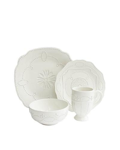 American Atelier 16-Piece Gabrielle Dinnerware Set, Scallop, White