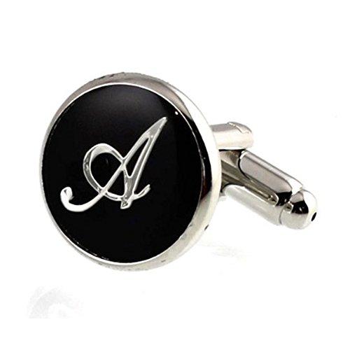 Digabi ジュエリー ファッション アクセサリー メンズ カフス, カフスボタン, セット, 名前 イニシャル 英字 アルファベット , 銅, カラー:シルバー(銀)黒い A-Z guangzhou Digabi jewelry co.,LTD