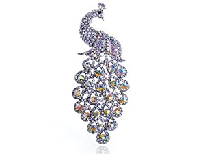 Palm Size Elegant Peacock Tear Drop Tail Swarovski Crystal Rhinestone Pin Brooch