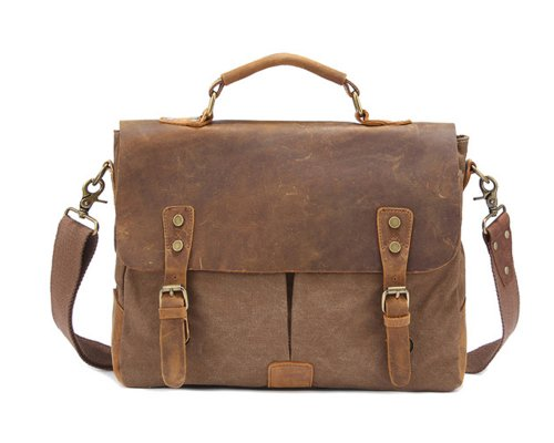 Kattee® Retro Designer mens canvas leather satchel
