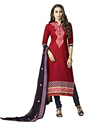 Sheknows Red Pure Cotton Embroidered Dress Material