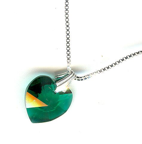 Emerald Green Swarovski Crystal Heart Pendant Necklace - For a Little Girl